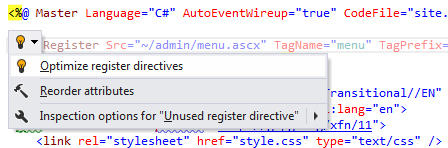 <strong>Redundant Register Directive</strong>: ReSharper detects that a directive registering a user control in an ASP.NET markup file is redundant and suggests removing it, as well as any other unused directives in that file.<br /><br />