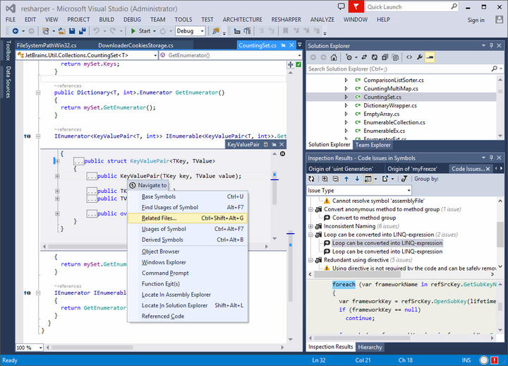 <strong>ReSharper Works Smoothly in VS</strong>: All ReSharper functionality is available in Visual Studio. <br /><br />