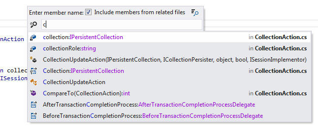 <strong>Go to File Member</strong>: Jump to a specific member in the current file or its related files (for example, in another type part.)<br /><br />