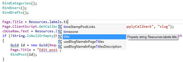 <strong>IntelliSense for Resource Names</strong>: ReSharper shows completion lists suggesting resource names. Completion supports lowerCamelCase, letting you use abbreviations instead of full words.<br /><br />