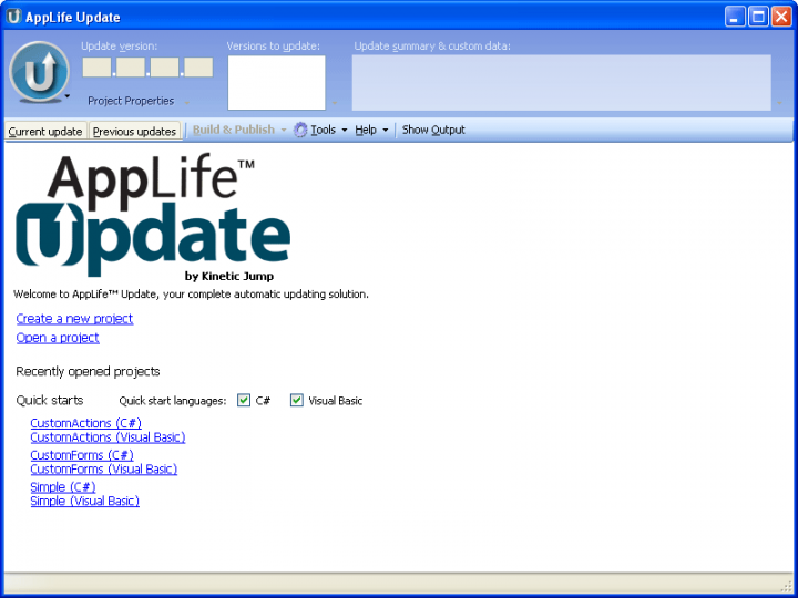 Screenshot of AppLife Update: Using AppLife Update, you can easily enable your applications to discover, download, and apply updates automatically with little or no user interaction. You can use AppLife Update actions to actually perform the update process of your software, or you can use Windows Installer packages. You can even use a completely custom executable to perform the update process.