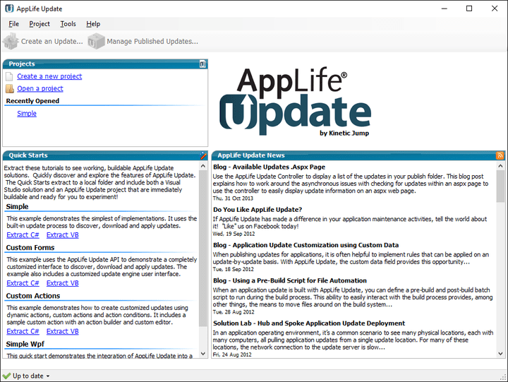 <strong>Screenshot of AppLife Update</strong>: With AppLife Update, you enable your users to obtain updates to your software without asking them to first determine which file to download, or whether to uninstall first, or whether to shutdown… These kinds of decisions are often the barriers that prevent users from obtaining updates. All of this is done with a flexible solution that allows you, the developer, to control the process.