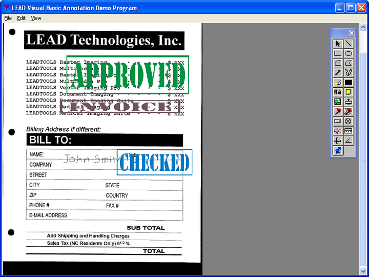 <strong>LEADTOOLS Document Imaging SDK 스크린샷</strong>: Stamp documents to indicate status.<br /><br />