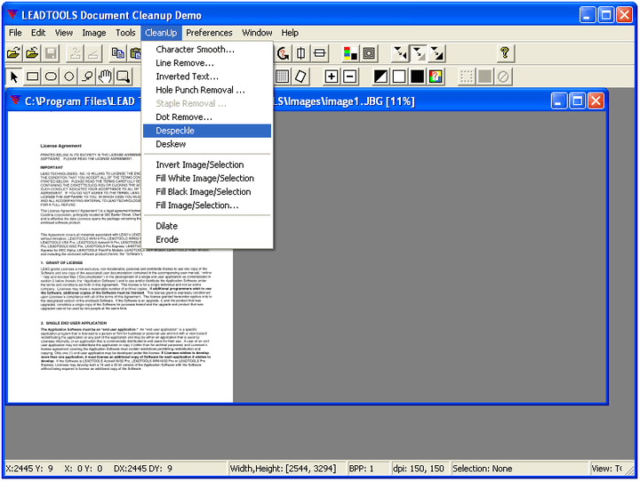 <strong>LEADTOOLS Document Imaging SDK 스크린샷</strong>: Remove erronious marks from scanned documents.<br /><br />