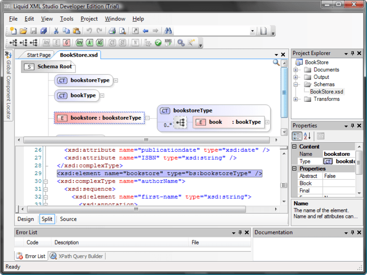 XML Schema Editor: A graphical XSD editor, allowing you to visualize and edit your schemas. The editor provides an abstracted view of the XSD making it simple to understand your data