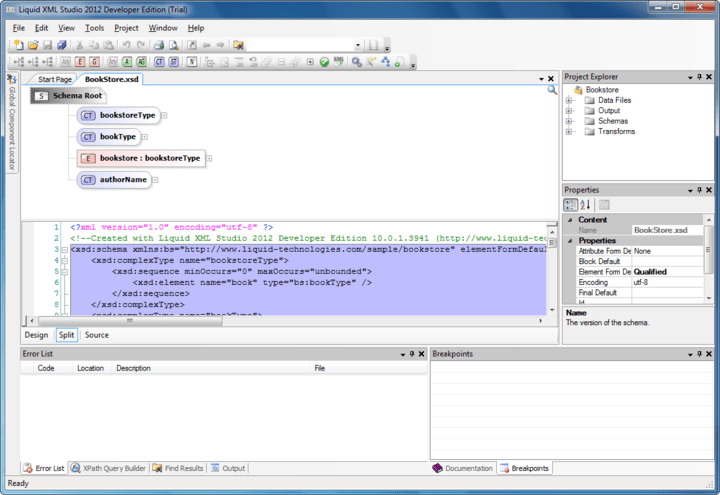 XML Schema Editor: A graphical XSD editor, allowing you to visualize and edit your schemas. The editor provides an abstracted view of the XSD making it simple to understand your data.