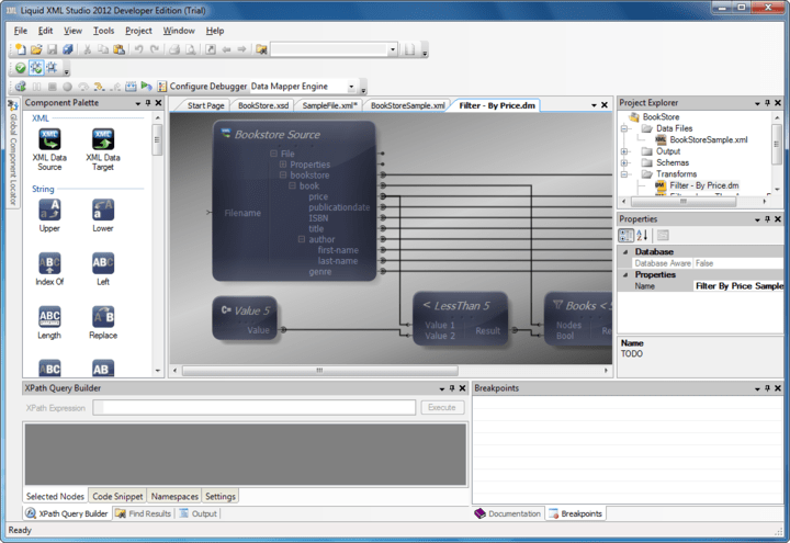 <strong>XML Editor</strong>: Liquid XML Studio includes a Graphical XML Editor, simplifying the job of authoring and validating XML documents. The syntax highlighted XML Editor, provides validation against the XML standard or an XSD schema. Sample XML documents can be created from an XML Schema too.<br /><br />