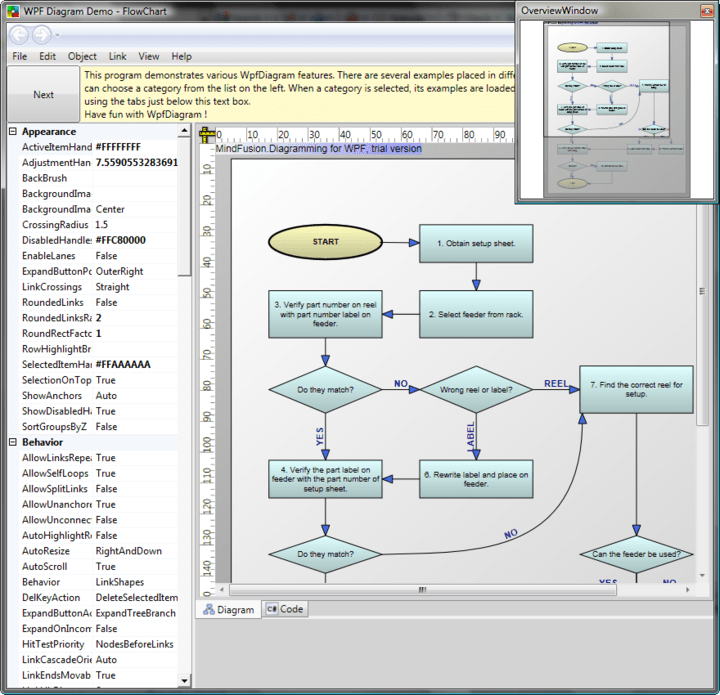 <strong>Hundreds of flow-diagramming features</strong>: WdfDiagram provides all major features of MindFusion WinForms and ActiveX components but uses the advantages of Microsoft's latest graphical subsystem. You can use WpfDiagram to create workflow processes, object hierarchies and relationships, graphs and networks, entity-relationship / database charts, IVR systems, industrial automation processes, genealogy trees, algorithms and flowcharts, organizational schemes, XML documents, classification hierarchies and more.<br /><br />
