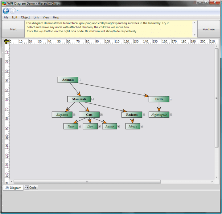 <strong>Hierarchical Grouping</strong>: Screenshot showing hierarchical grouping and collapsing/expanding subtrees in the hierarchy.<br /><br />