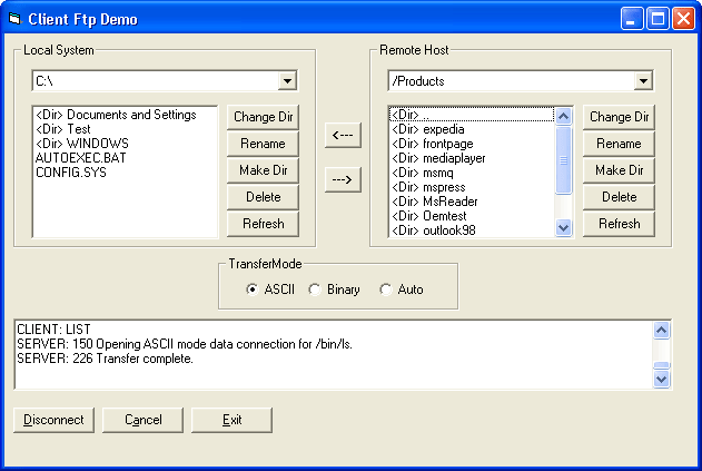 <strong>Client FTP</strong>: The FTP component can be used to build an FTP client. It allows browsing of directories, uploads and downloads of files, and more.   <br /><br />