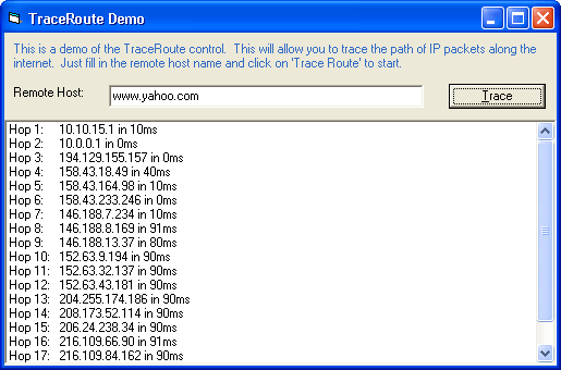 <strong>Trace Route</strong>: You can use the TraceRoute control to trace website routes.  <br /><br />