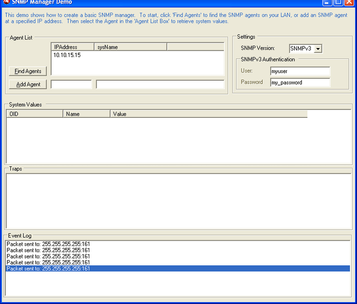 <strong>SNMP Manager</strong>: Create a basic SNMP manager that will find and query SNMP agents for their system information. The manager will also react to SNMP traps.   <br /><br />