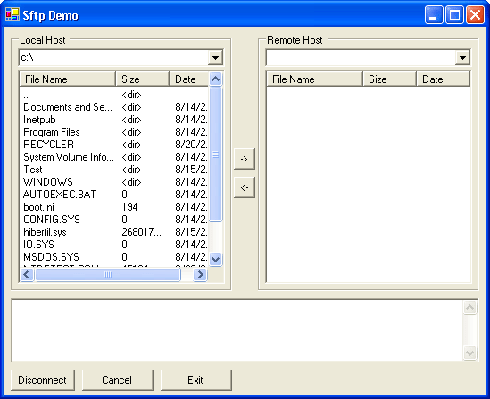 SFTP Client: Create a full featured SFTP client built using the SFTP control. It allows browsing of directories, uploads and downloads of files, and more.