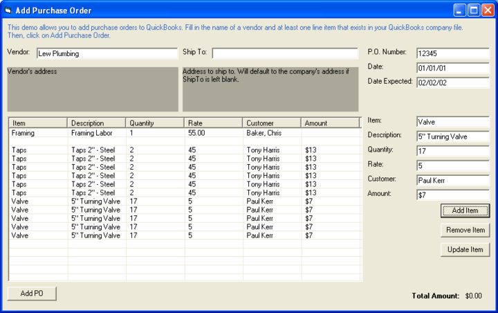 <strong>PurchaseOrder Control</strong>: Use the PurchaseOrder control, or any of the other transaction controls (they all have very similar interfaces) to add purchase orders to QuickBooks.  <br /><br />