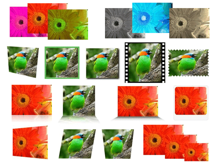 <strong>ImageDraw built-in Imaging Effects (Actions) out-of-the-box</strong>: ImageDraw Actions are imaging effects that are applied on any ImageDraw Element objects. ImageDraw comes with 33 built-in ready to use Actions. Lots of useful Imaging Effects out of the box includes: Adjust Brightness, Contrast, Gamma, Hue, Saturation, Opacity, HSL; Convert To Grayscale, Negative, Sepia; Crop, Drop REAL Shadow, Flip, Make Transparent, Perspective Shadow, Resize, Scale, Rotate, Round Corners, Silhouette, Stretch, Decorative Border, Glass Table (<br /><br />