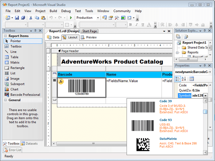 <strong>Visual Studio 2005 & Reporting Services 2005 Design-time support</strong>: Barcode Professional provides an impressive design-time experience through out its exclusive Property Editor a.k.a. Barcode Builder. This feature is available when you use Barcode Professional with Visual Studio 2005 or SQL Server Business Intelligence Development Studio to design or create Report Server Projects that targets SQL Server 2005 Report Servers only. When you develop Report Server Projects (SQL Server 2005 Reporting Services) you're ab<br /><br />