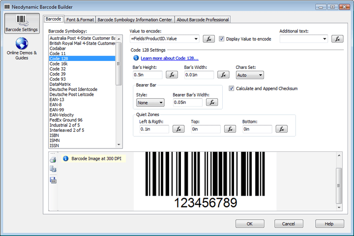 Neodynamic Barcode Builder Design-time support: When working with Visual Studio 2005 or SQL Server Business Intelligence Development Studio designing Report Server Projects (SQL Server 2005 Reporting Services), you gain access to an additional design-time feature called Barcode Builder