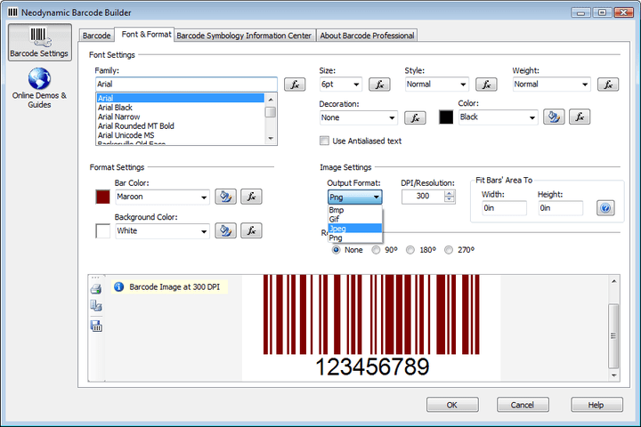 Barcode Builder: Barcode Builder lets you to specify what Barcode Symbology you want to use and the specific settings for each of them. At any time you'll get instant preview of the barcode image in the bottom zone. In addition, the barcode preview feature will allow you to print the barcode image as well as to save it on disk.