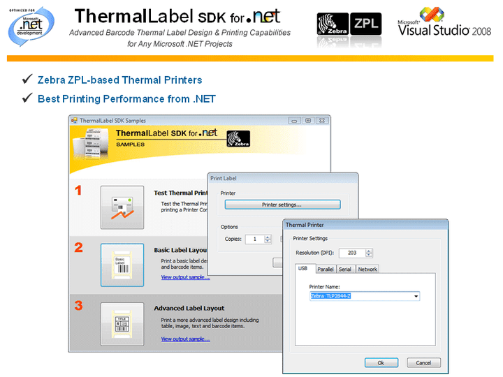 <strong>Thermal Label Design with VB.NET and C# - High Performance Thermal Printing</strong>: ThermalLabel SDK provides a flexible programming object model which lets you write less code for designing and printing labels. ThermalLabel SDK will let you create from simple to complex layouts without efforts writing pure .NET code in VB or C#. ThermalLabel SDK supports Texts, Barcodes, Graphics and Images, Tables and Grids, and AutoShapes like circles, ellipses, rectangles, and lines. ThermalLabel SDK generates native ZPL (Zebra Programming Language) commands based on the Label definition and sends it to the printer.<br /><br />