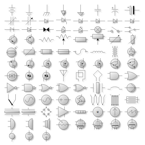 <strong>Electrical Symbol Shapes</strong>: Electrical Symbol Shapes are used for the creation of circuit diagrams, electrical drawings, electronic schematics etc. Nevron Diagram for .NET implements a myriad of predefined shapes, which can come handy in many types of diagrams. The predefined shapes are consistently created with the help of shape factories.<br /><br />