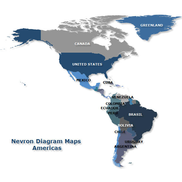 Americas Map: Nevron Diagram makes it easy to import geographical data and integrate maps to your projects. The Diagram Maps supports navigation and zooming, value and range fill rules, interactivity features and more.