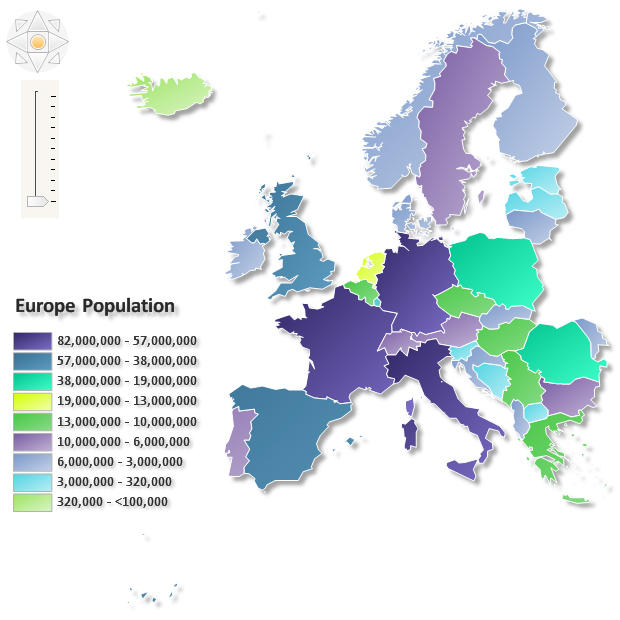 <strong>Europe Population</strong>: A Choropleth Map is a thematic map in which areas are shaded or patterned in proportion to the measurement of the statistical variable being displayed on the map, such as population density, regions or per-capita income. Nevron Diagram makes it easy to import geographical data from Esri shapefiles. You can import the shapes in separate layers and control the way they are rendered applying various styles to them.<br /><br />