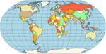 <strong>Robinson Map Projection</strong>: Robinson - made in 1988 to show the entire world at once. It was specifically created in an attempt to find the good compromise to the problem of readily showing the whole globe as a flat image. The projection is neither equal-area nor conformal, abandoning both for a compromise. The creator felt this produced a better overall view than could be achieved by adhering to either. The meridians curve gently, avoiding extremes, but thereby stretch the poles into long lines instead of leaving them as points. Hence distortion close to the poles is severe but quickly declines to moderate levels moving away from them. The straight parallels imply severe angular distortion at the high latitudes toward the outer edges of the map, a fault inherent in any pseudocylindrical projection.<br /><br />