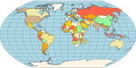 <strong>Wagner VI Map Projection</strong>: Wagner VI - a pseudocylindrical whole Earth map projection. Like the Robinson projection, it is a compromise projection, not having any special attributes other than a pleasing, low distortion appearance. <br /><br />