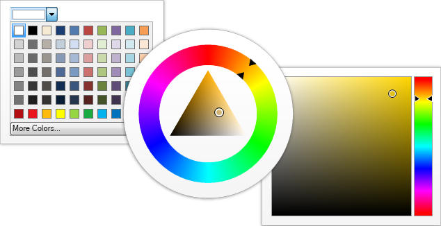 <strong>Color Pickers</strong>: Color pickers are widgets that allow the user to pick a color by modifying one or all of its color components through a visual interface. NOV includes Palette Color Picker, Luminance Color Bar, Hue Color Bar, Saturation-Brightness Color Box, HSB Box Color Picker, HSB Wheel Color Picker and Color Box.<br /><br />