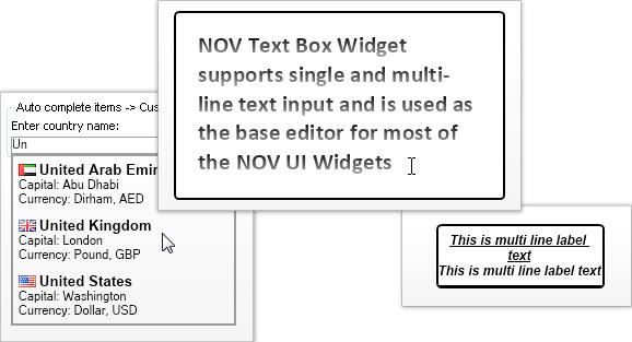 <strong>Text Visualization and Editing</strong>: The NOV Label and Text Box widgets allow for the visualization and editing of Unicode text. They are based on our proprietary managed Typography and as such are the only Label and Text Box in the .NET world that can guarantee you 100% identical text quality and speed in all environments. Label, Text Box, Auto Complete Text Box.<br /><br />