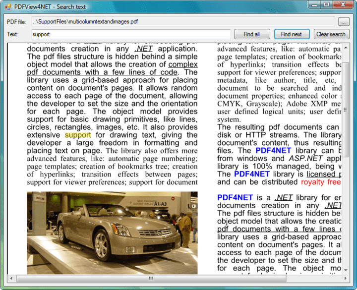 <strong>Search PDFs</strong>: You can search text and highlight search results in the PDFPageView control.<br /><br />