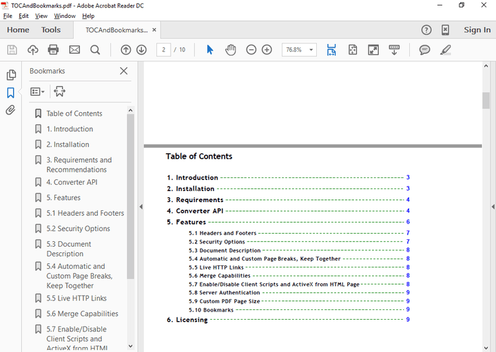 <strong>Table of Contents</strong>: You can convert HTML links with anchors to internal links in your PDF to easily create a table of contents in the generated PDF. <br /><br />