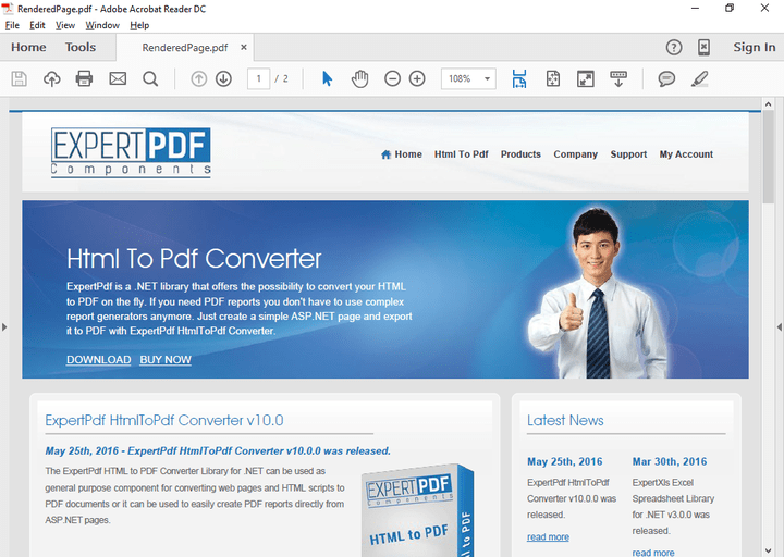 <strong>Convert URLs</strong>: Directly convert an URL to a PDF file. <br /><br />