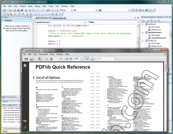 <strong>PDF Output</strong>: Generate PDF documents on disk file or directly in memory (for Web servers). High-volume output and arbitrary PDF file size (even beyond 10 GB). Suspend/resume and insert page features to create pages out of order.<br /><br />