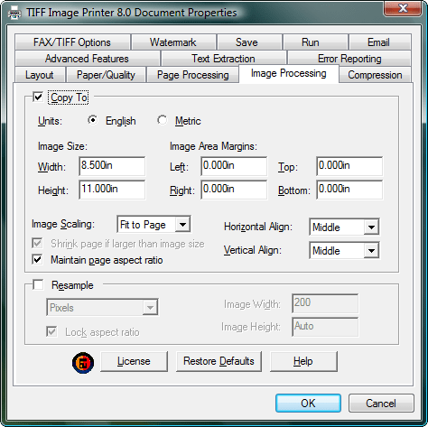 <strong>Image Processing</strong>: Image processing allows you to copy each page of the document to a larger or smaller image using the Copy To feature, or to use the Resample options to change the size of the output image. The options shown here are applied to each page of the file after any previous processing, such as Page Processing, Fax/TIFF or Watermark options, are applied. Copy To - The concept of image copying is similar to enlarging or shrinking a page using a photocopier, with the added ability to position the page on the new image using the scaling and alignment options. Resample - The Resample feature allows you to scale the output image to a particular width and height in pixels, as a percentage of the original size, or by setting a new image resolution (DPI).<br /><br />