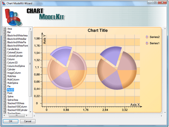 <strong>Chart Wizard</strong>: Double click on the ChartViewer component to run the Designer. When you open the designer the Wizard window also opens. Here you can select a chart from a number of existing templates. Select the chart from the list, click the OK button and the selected chart will be loaded in the designer.