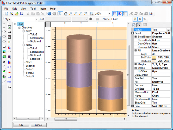 <strong>Chart Designer</strong>: The Chart ModelKit Designer is used for creating charts. Chart is an object, containing various elements. Every element has a set of properties which are displayed in the Properties Window. You can edit properties in this window. Visual and non-visual elements are available through the Insert menu or buttons on the ToolBox. In order to place an element into the chart, you should select this element in the Insert menu or on the Toolbox and then click the mouse button in the work area or holding the mouse button down, stretch the element to the required size. Chart structure is displayed in the Chart outline window. You can change elements position by dragging them with a mouse. <br /><br />