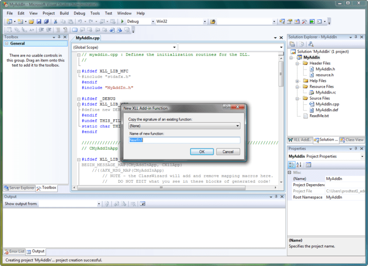 Screenshot of XLL Plus for Visual Studio 2010