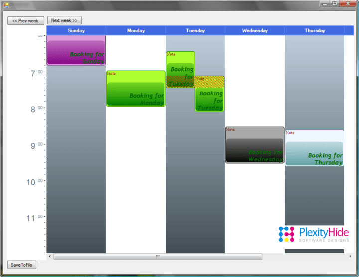 <strong>Weekly Planner</strong>: This is the kind of presentation you can see in Outlook. On a first glance this presentation may look very similar to the ResourceBooker. The big difference in the two are that each column in the  ResourceBooker example has the same definition of time. In this example however the columns are used in the Schedule to represent a specific day. When doing so there is time on both axis. On one axis time is in the form of days and on the other time is in the form of hours within the day.  This pattern has the following important characteristics: 1. Time is presented on both axis  2. Each column has a time offset (in this sample 24 hours more for each column)  3. One can probably only be one place at once, so it will be important to signal double-booking  4. The view is aimed for someone that needs an overview of usage for a given interval.  5. It will be interesting to compare day usage and make it easy to move engagements to different days. <br /><br />