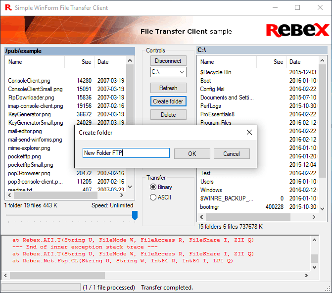 <strong>Rebex FTP for .NET</strong>: Rebex FTP for .NET is a file-transfer component for .NET languages (such as C# or VB.NET).