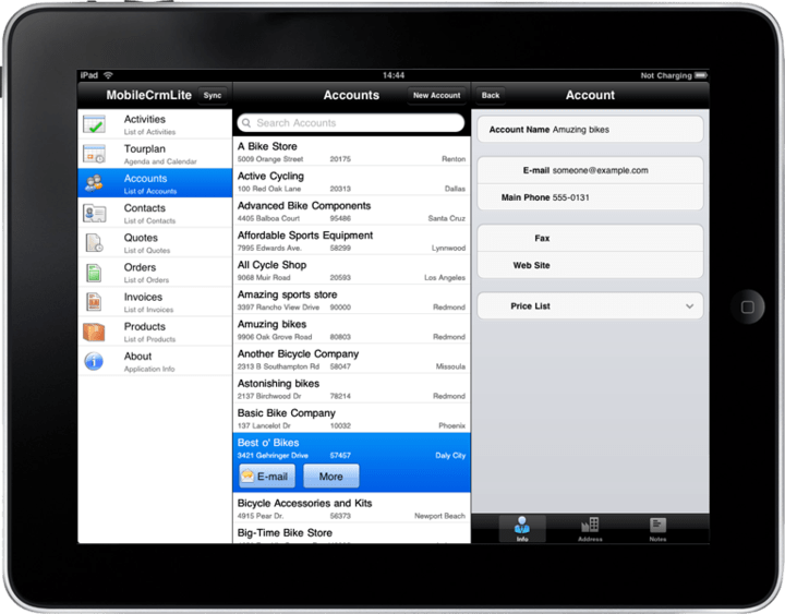 <strong>Create applications for the Apple iPad.</strong>: This is an example of an application developed in Resco MobileApp Studio targeting the Apple iPad.<br /><br />