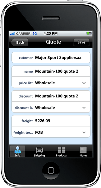 <strong>iPhone Application</strong>: This iPhone application was developed in Resco MobileApp Studio using Resco MobileTouch controls and MonoDroid from Novell.<br /><br />