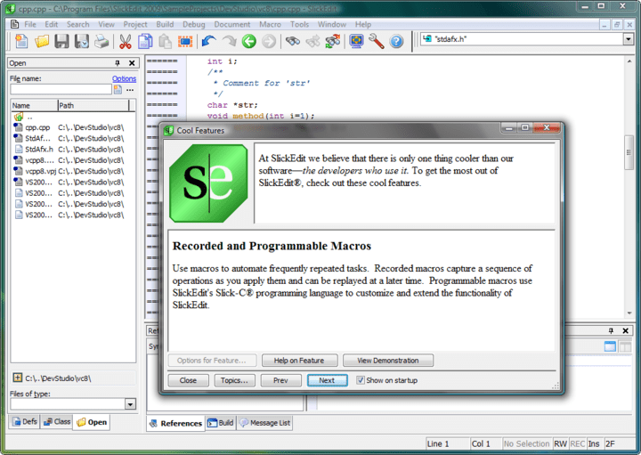<strong>Screenshot of SlickEdit for Windows and Mac OS X</strong><br /><br />