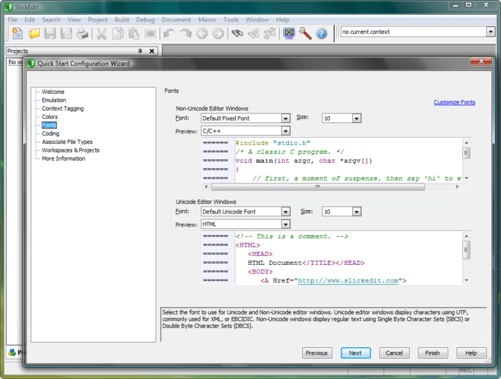 Screenshot of SlickEdit for Windows and Solaris SPARC