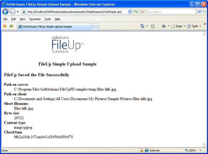 <strong>SA FileUp Enterprise</strong>: FileUp processes uploads sent from a client over HTTP to a server running Microsoft Internet Information Server (IIS). Uploads are typically submitted from a web page or from a client-side ActiveX control such as SoftArtisans XFile. Uploaded files can be saved on the web server or to another machine on the same local network as the web server.<br /><br />