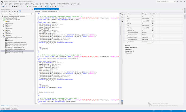 <strong>Generate SQL scripts</strong>: Persistence producers generate SQL scripts so you can easily work with them. Producers automatically add them to target Visual Studio projects and can also deploy them automatically on configured server.<br /><br />