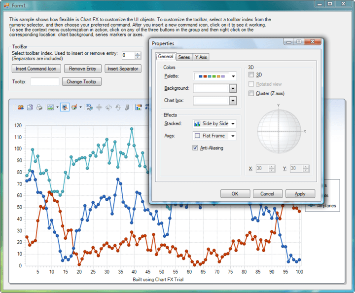<strong>End User Experience </strong>: The Chart FX UI including the Toolbar, Context Sensitive Menus and Dialogs provides an easy way for the End User to change visual attributes of any chart element. Advanced features like the ability to change the rotation angle and perspective of a 3D Chart or change axis settings are also included.<br /><br />