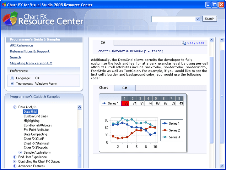 Data Analysis: Chart FX provides a spreadsheet called DataGrid allowing users to see all the series and points contained within the chart in a spreadsheet type fashion. Other advanced Data Analysis features included are Custom Grid Lines, Highlighting, Conditional Attributes, Per Point Attributes and Data Compacting.