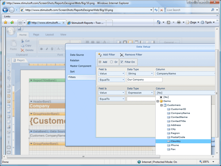 Sorting and filtering: Stimulsoft Reports Designer.Web lets you easily sort and filter data.