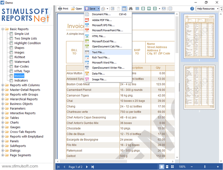 <strong>Exporting Reports</strong>: You can export created reports to various formats. The following formats are available: Pdf, Rtf, Html, Excel, Txt, Xml, Emf, Bmp, Gif, Jpeg, Png, Tiff. <br /><br />